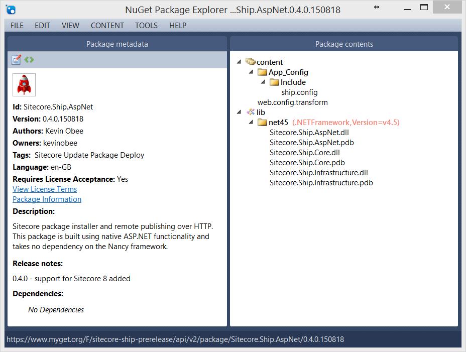 Sitecore.Ship.ASpNet NuGet package