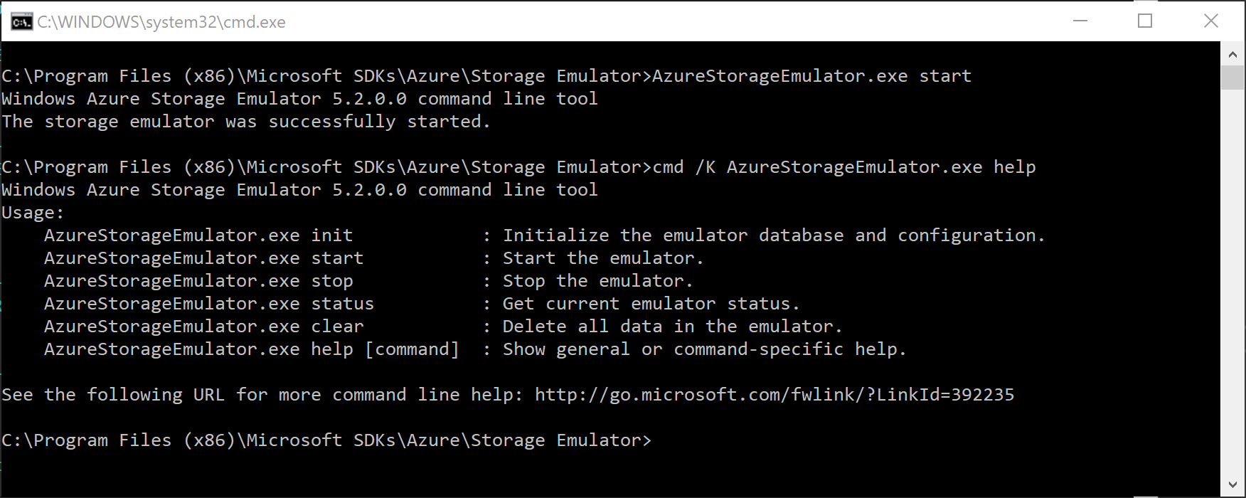 Azure Storage Emulator is started