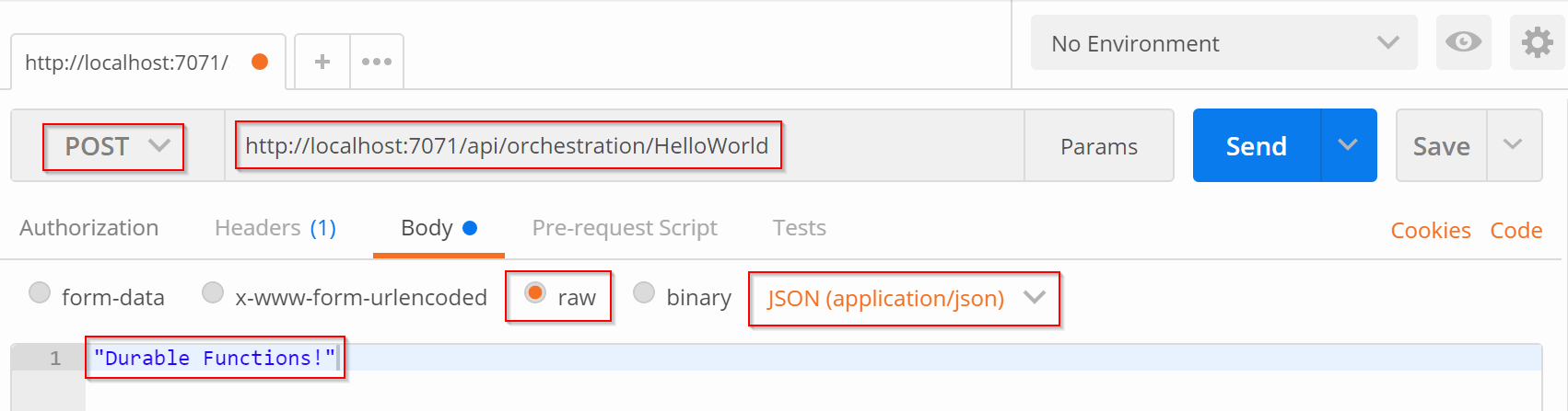 Request to orchestration/HelloWorld