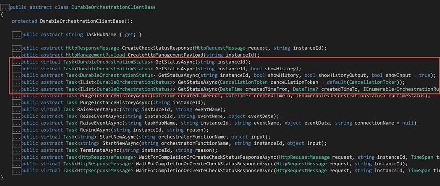 Methods in DurableOrchestrationClientBase