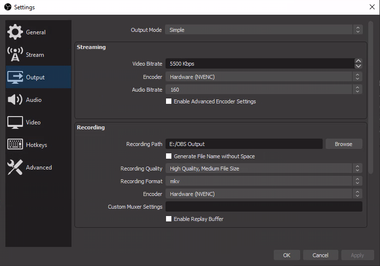 OBS Output Settings
