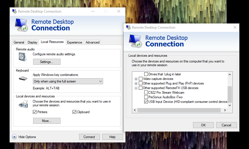 Edit the RDP session settings to allow USB connectivity.
