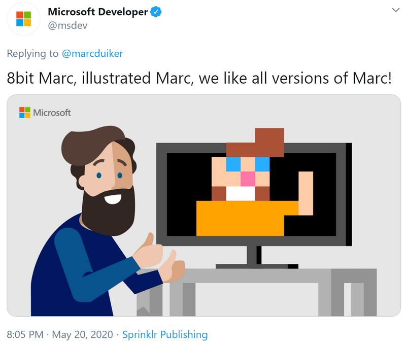 Hilarious shout-out from the Microsoft Developer Twitter account
