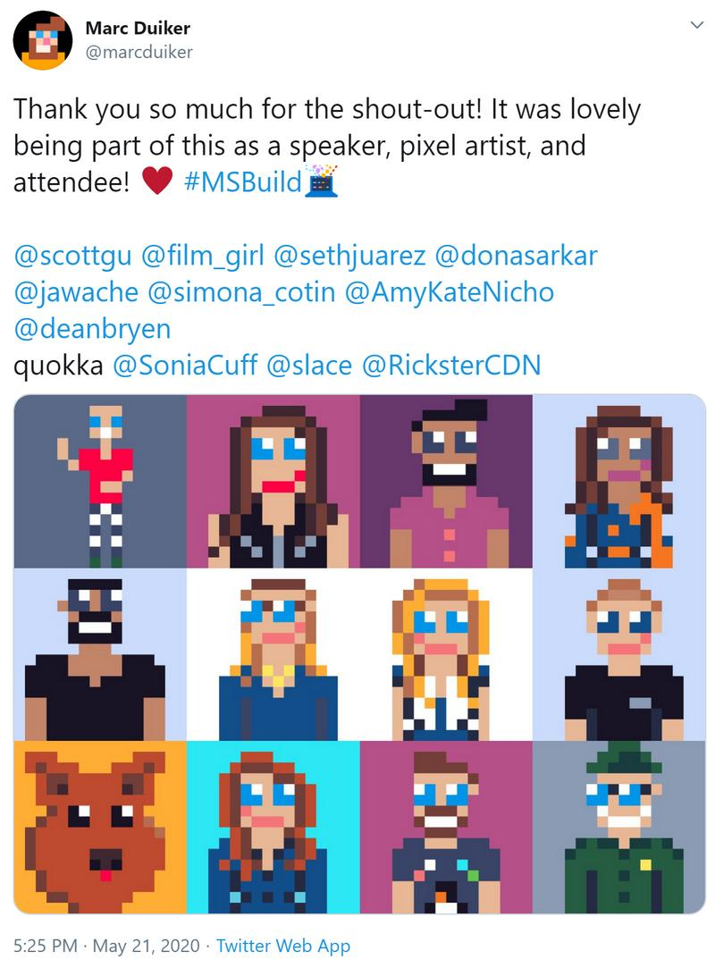 My thank you tweet with the 8-bit collage.