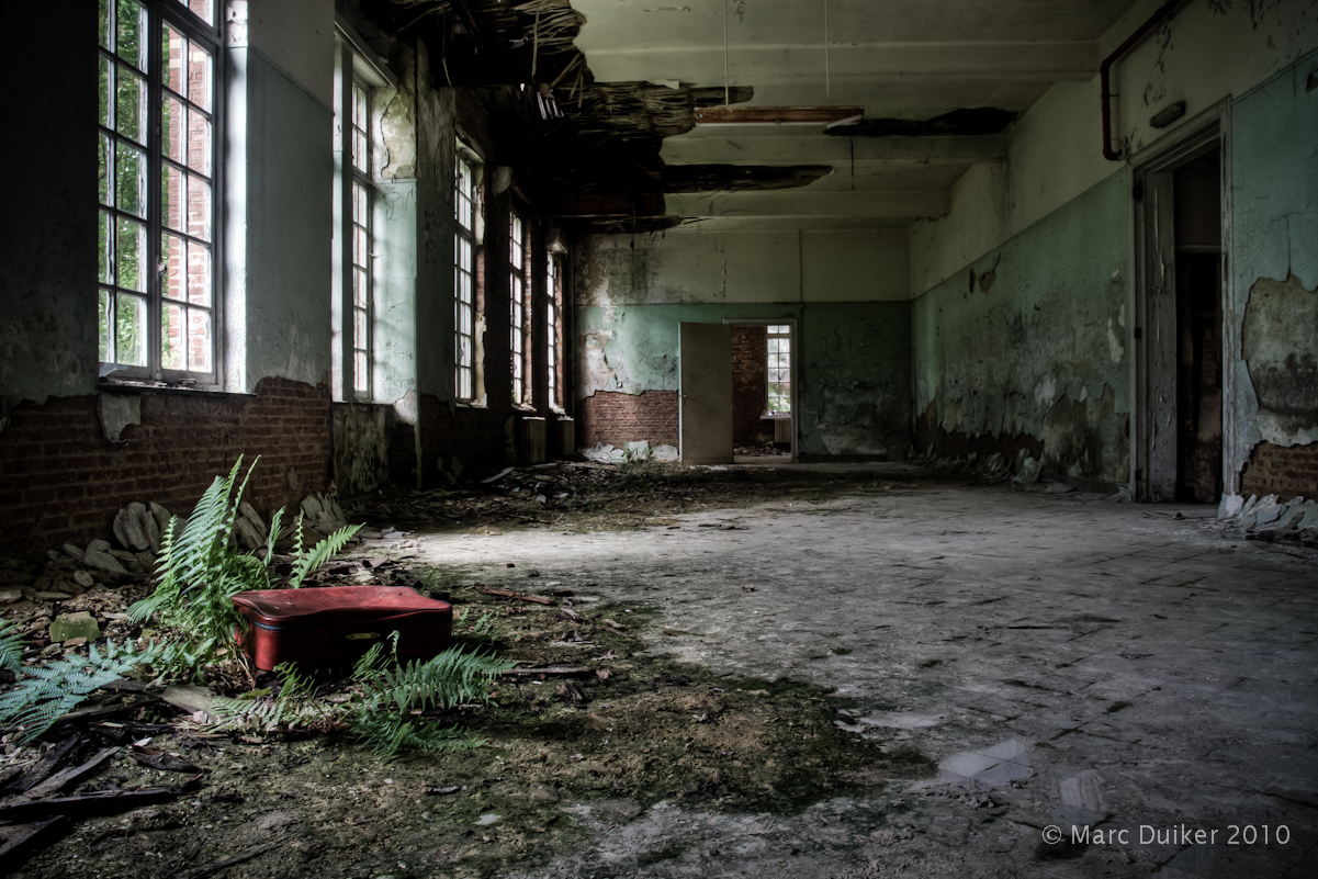 Indoor shot of a decayed building