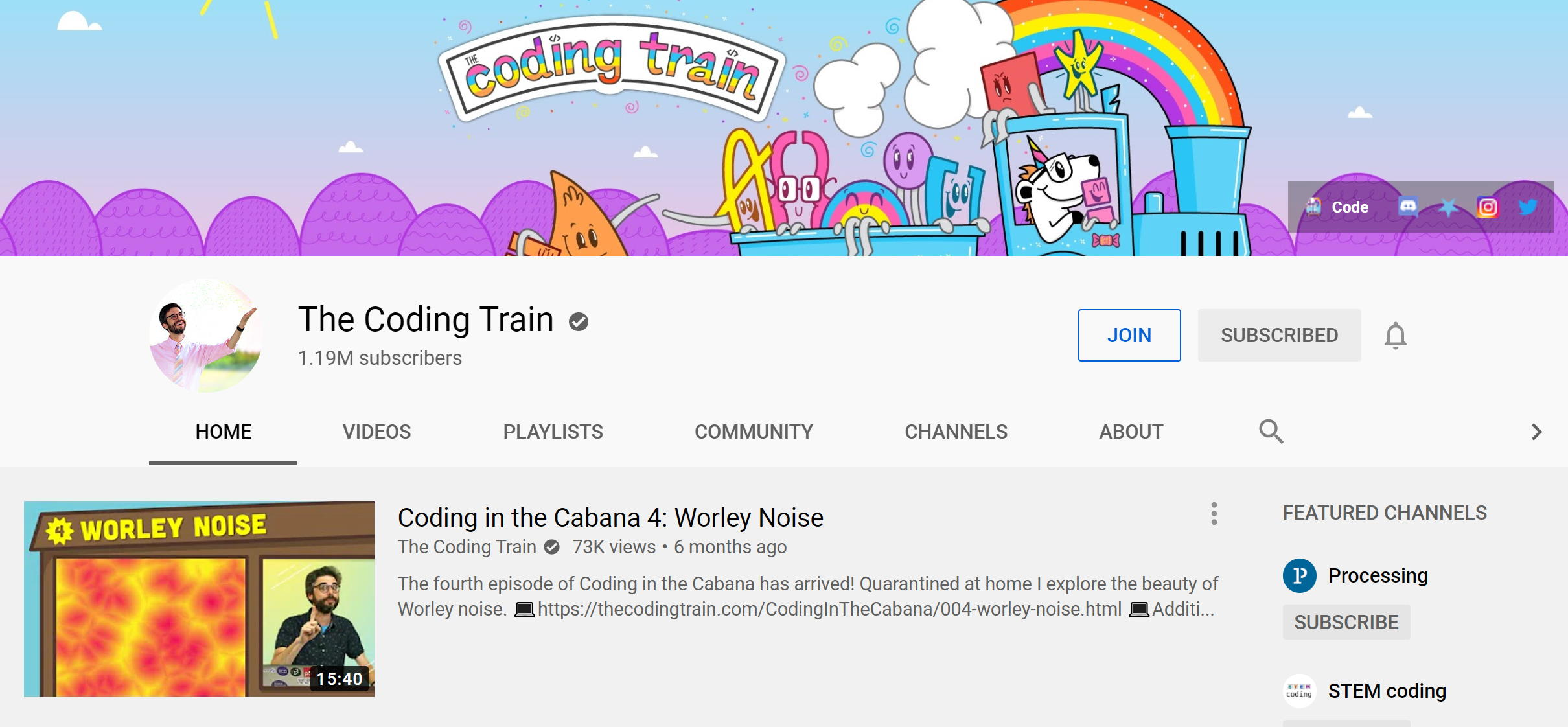 The Coding Train on YouTube