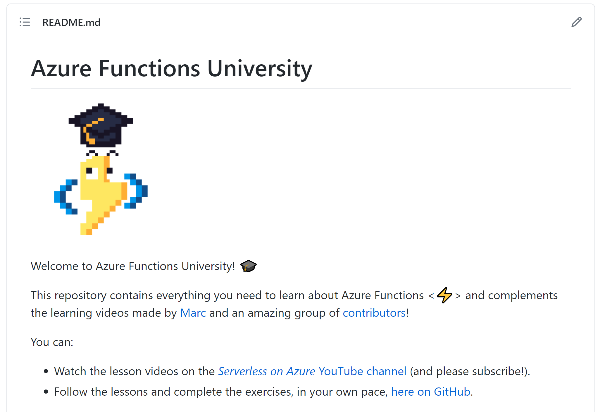 Screenshot of the Azure Functions University GitHub repository