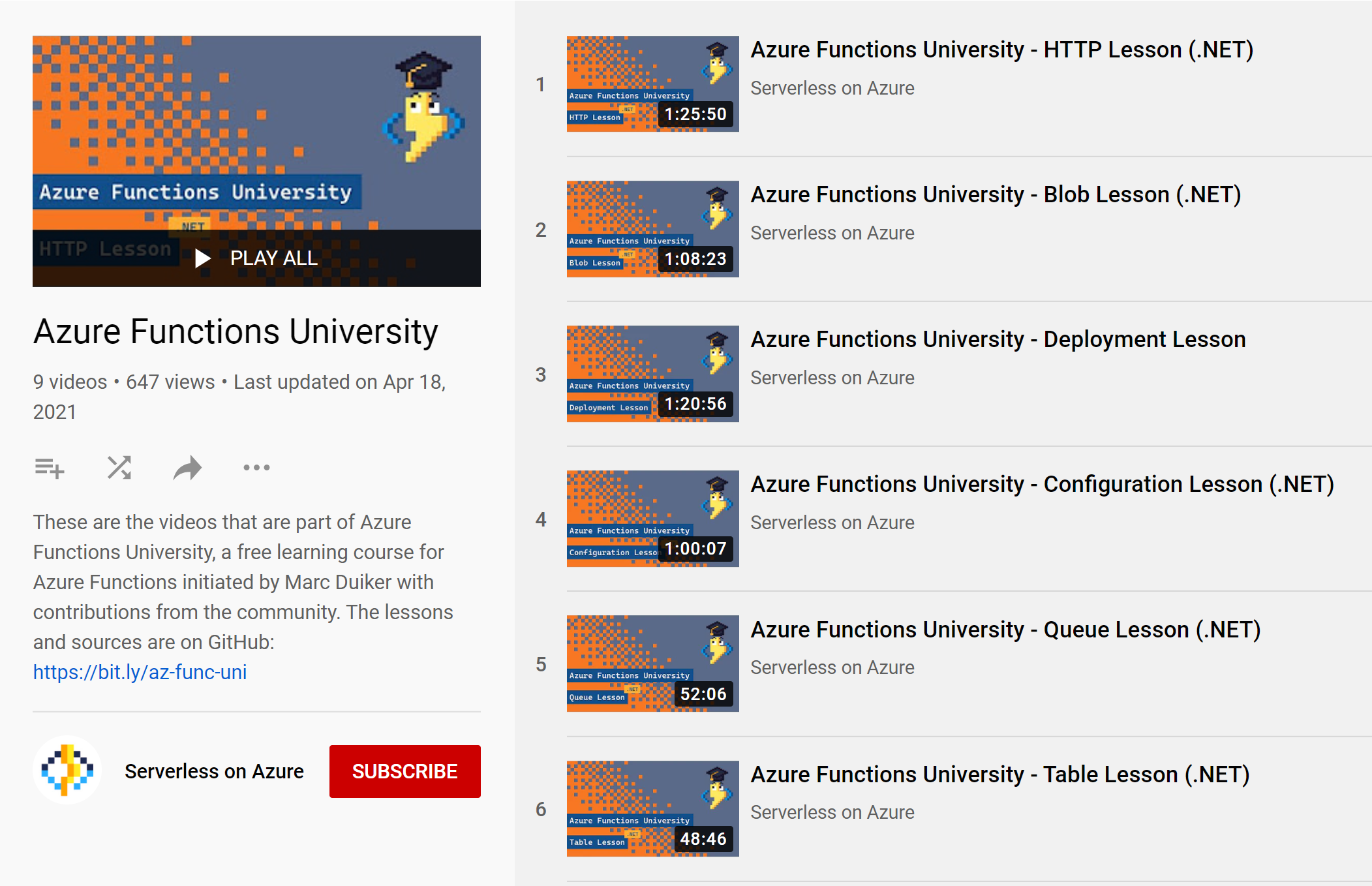 Screenshot of the Azure Functions University playlist on YouTube